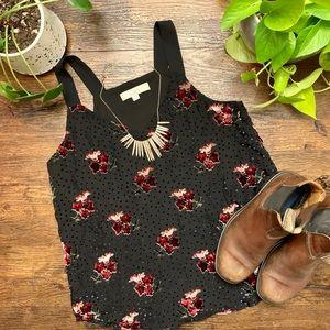 LOFT Black Velvet Polka Dot and Floral Tank Top